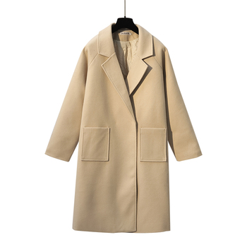 big yards long dress cloth coat loose thick woolen coat A woman big coat with belt outfit warm winter fall clothing good quality цена 2017