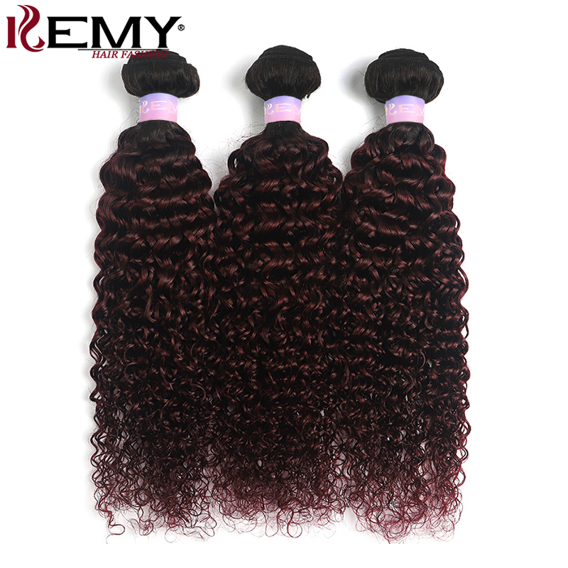 Kinky Curly Human Hair Bundles KEMY HAIR 1B/99J Ombre Brazilian Hair Weave Bundles 3/4 PCS Hair Weave Extension Non-Remy Weft