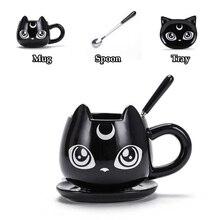 Creative Black Cat Ceramics Mugs Kids Breakfast Milk Cartoon Cups Office Afternoon Tea Coffee Mug With Tray