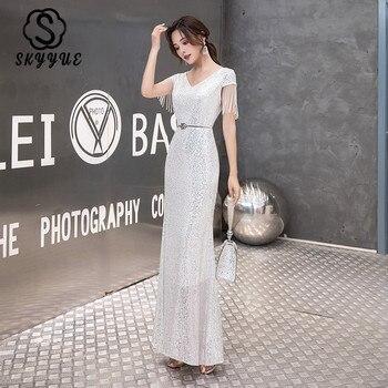 Skyyue Plus Size Evening Dress Silver Sequined Shining Tassel Evening Gown K049 Short Sleeve Elegant Formal Drees Robe De Soiree