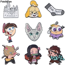 A3348 Patchfan Enamel Pins Anime Kimetsu no Yaiba Brooches Lapel Pin Shirt Bag Funny Cat Animal Badge Jewelry Gift Fans Friends this is fine enamel pins custom cartoon dog brooches lapel pin shirt bag funny animal badge jewelry gift fans friends