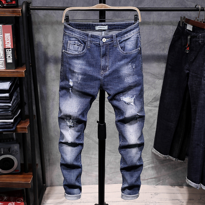 2019 Spring With Holes Jeans Men's Slim Fit Elasticity Korean-style Trend Beggar Students Blue Small Feet Long Pants