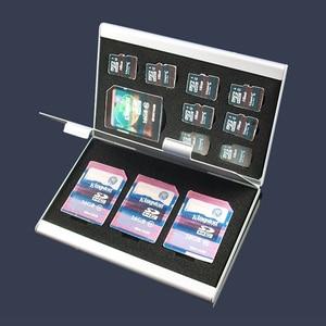 Image 2 - Black Aluminium Alloy Micro for SD MMC TF Memory Card Storage Box Protecter Case 4x for SD Card 8 X Micro SIM Card