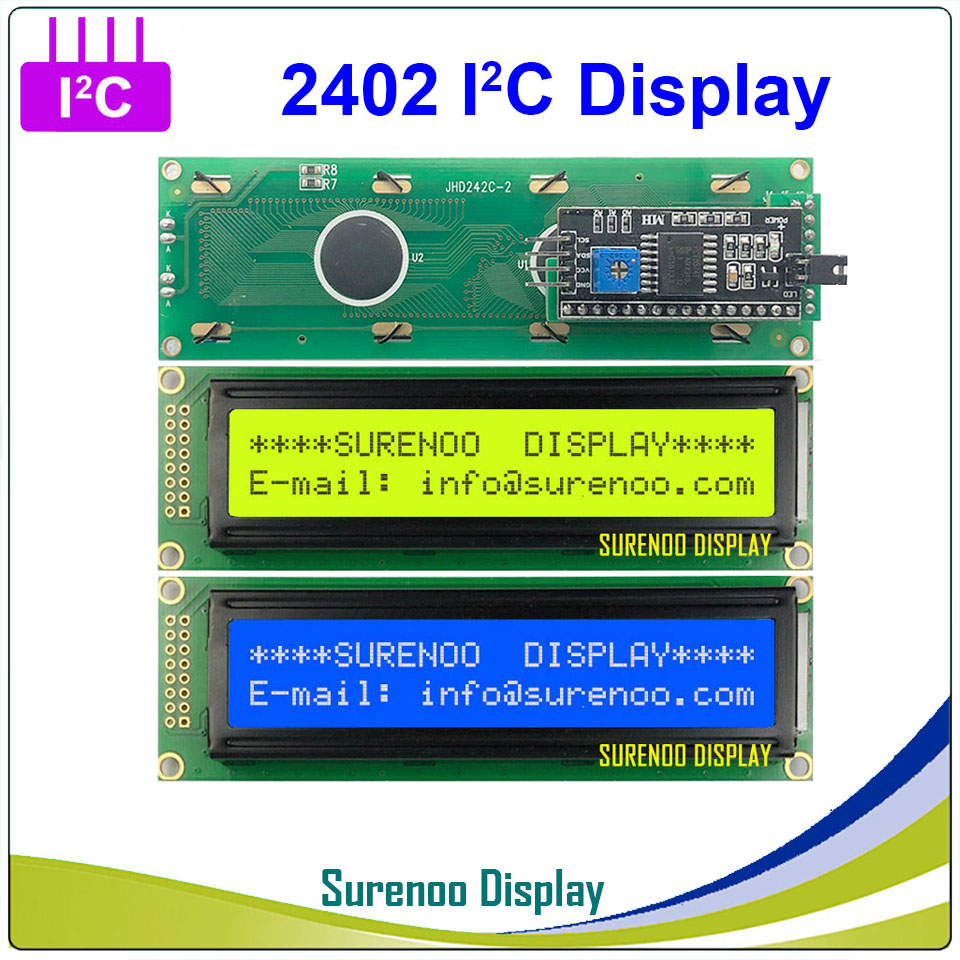 Serial IIC / I2C / TWI 2402 242 24*2 Character LCD Module Display Panel Yellow Green Blue With Backlight For Arduino