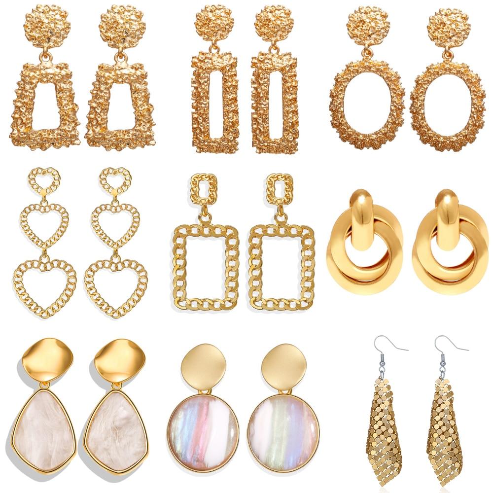 17KM Big Oversize Earrings For Women Fashion Hollow Geometric Gold Drop Earring 2020 Korean Jewelry Party Gift
