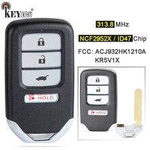 Keyecu 313.8mhz id47 kr5v1x a2c83161800/acj932hk1210a inteligente 4 botão remoto chave fob para honda HR V ajuste CR V CR Z 2015 2020