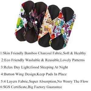 Image 4 - [simfamily]10PCS bamboo charcoal Sanitary Pads Regular Flow pads Reusable Health Menstrual Cloth Pads