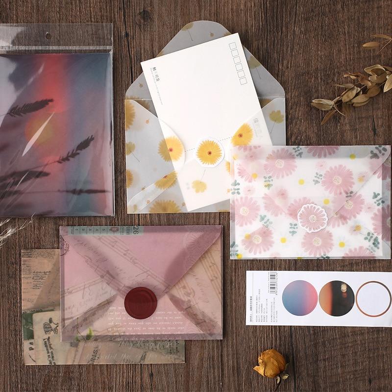 3 Pcs/pack Hot Stamping Flower Sunset Golden Translucent Envelope Message Card Letter Stationary Storage Paper Gift