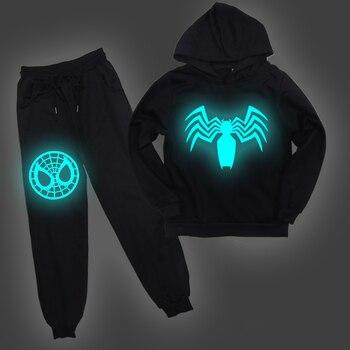 цена New Spider-man Print Boys Clothes Suits Cartoon Baby Kids Boy Luminous Hoodies Jacket Baby Sport Spring Boys Clothing Sets Suits онлайн в 2017 году