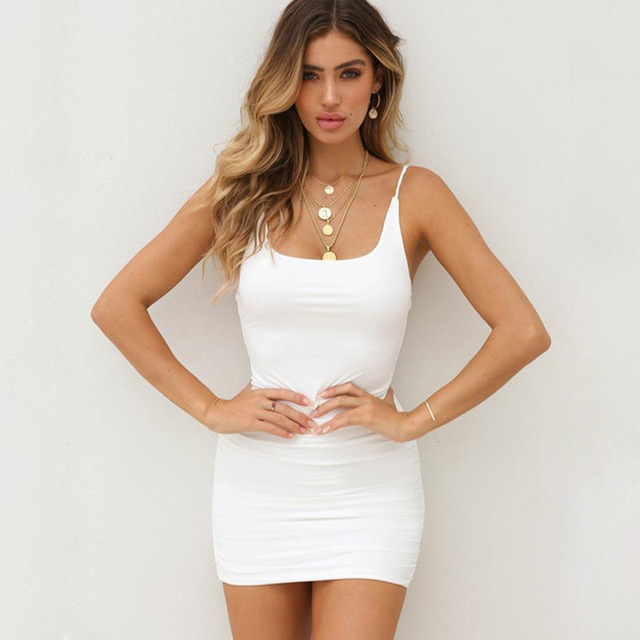 ONCE Spaghetti Strap Sexy Bodycon Dress Summer Yellow Neon White Black Club Sleeveless Mini Short Dress Women