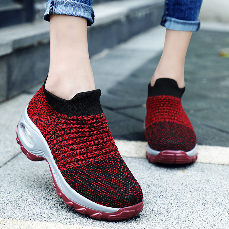 New Women Sneakers Fashion Breathable Mesh Casual Flats Slip-On Shoes Platform Sneakers For Women Sock Walking Running Shoes 1