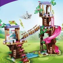 Menina amigos casa na árvore selva resgate base blocos de construção figuras ação modelo brinquedo menina presente natal 41424 41395