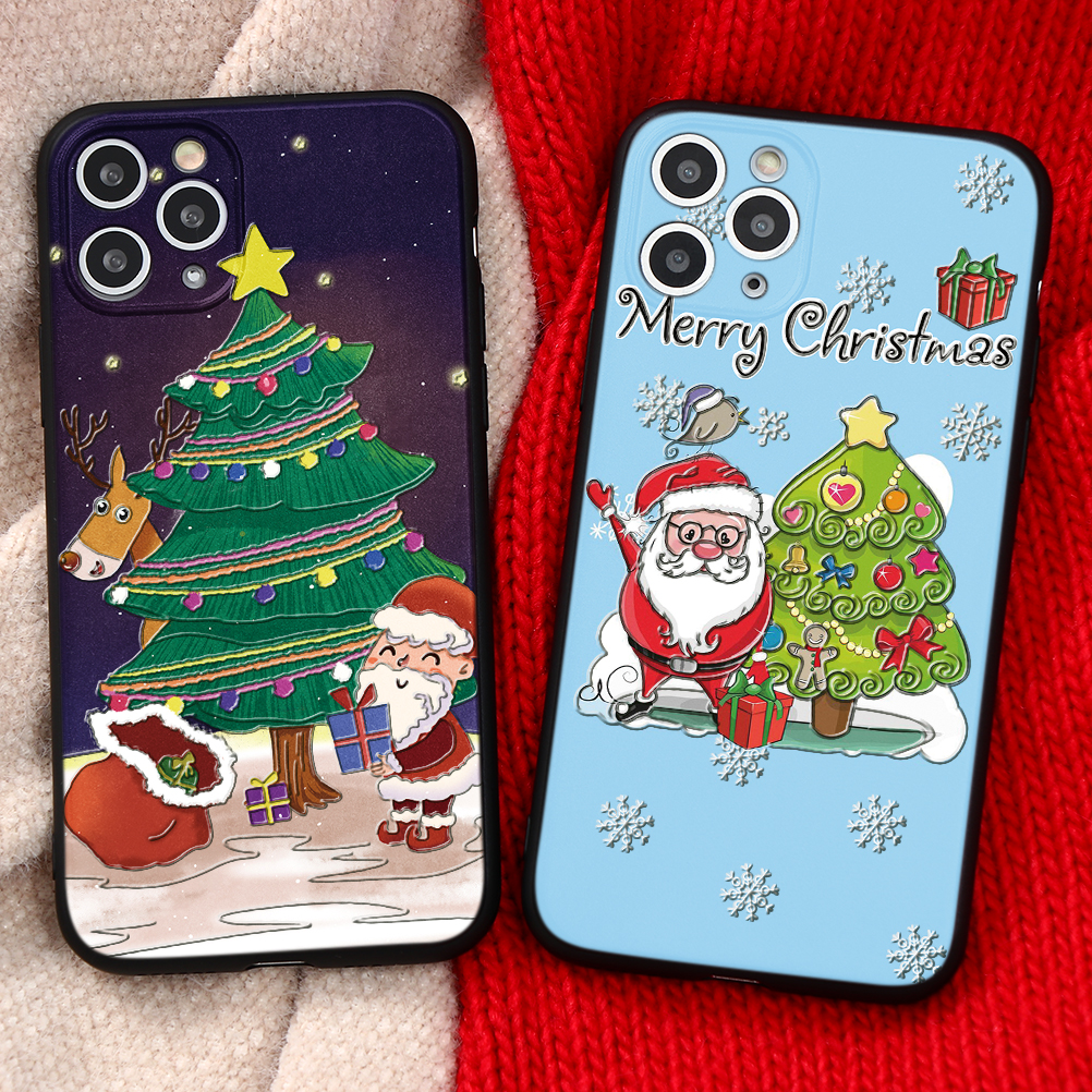 3D Relief Emboss Christmas Cartoon Phone Case For iPhone 12 Pro Max