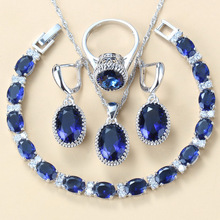 Best Low Price Classic Blue Zircon Bridal  Silver Color Jewelry Sets For Women Costume 8-Colors Jewelry