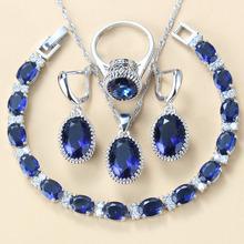 Najlepsza niska cena klasyczny niebieski cyrkon ślubny srebrny kolor zestawy biżuterii dla kobiet kostium 8-kolory biżuteria tanie tanio Manny Della Miedzi Kobiety Półszlachetnych kamieni Pendant Chain Necklace Earring Ring Bracelet Zestawy biżuterii dla nowożeńców
