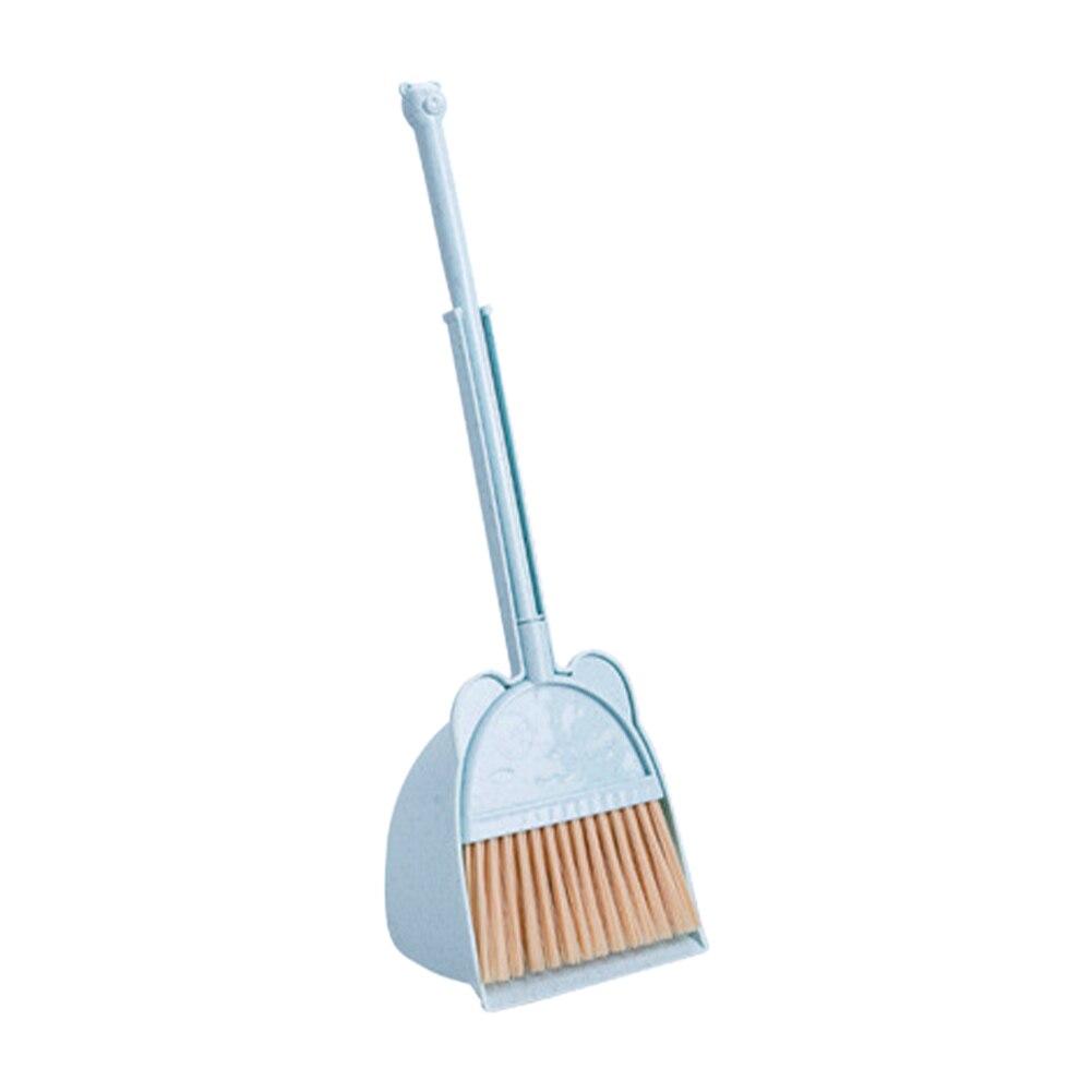 Pretend Play Props Kids Children Plastic Bear Pattern Detachable Toy Mini Dust Remove Broom Dustpan Set Sweep Cleaning Tool