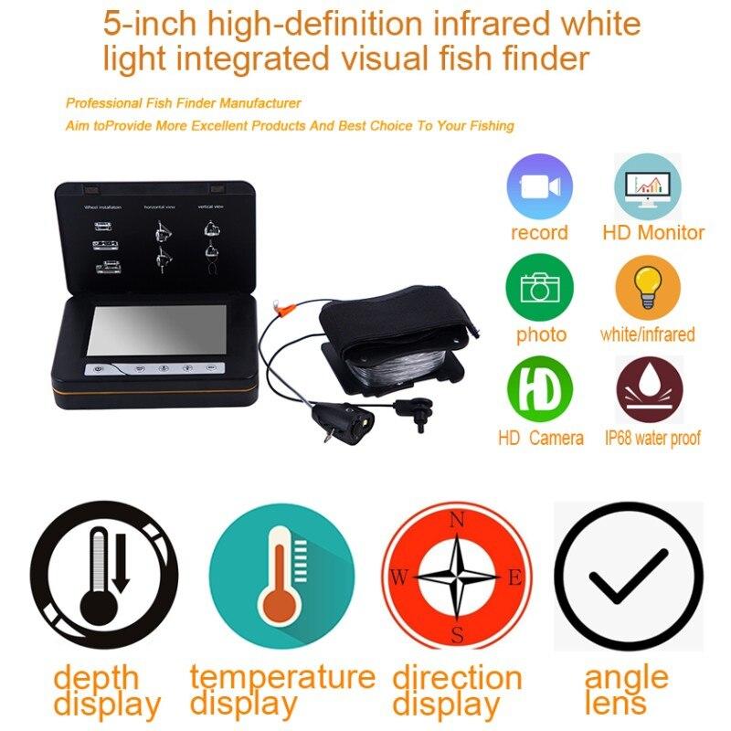 WF15 5 Zoll Farbe Monitor 15M Fisch Finder Unterwasser Eis Fisch Kamera mit DVR Funktion, Temperatur, richtung, tiefe Display