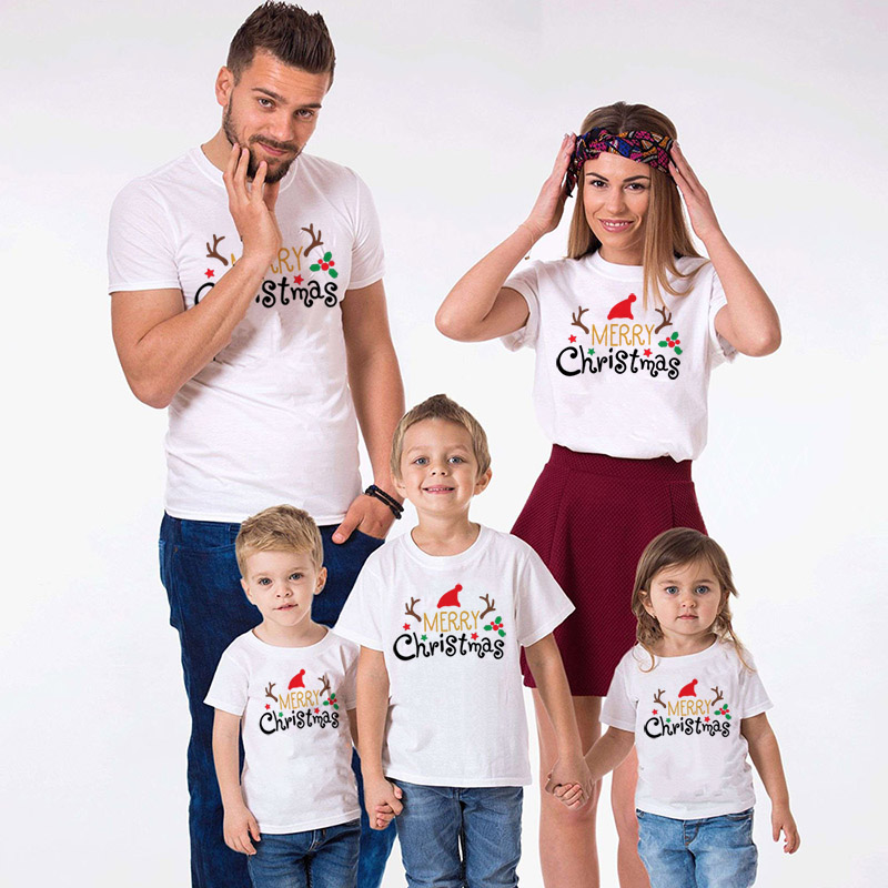1pcs Merry Christmas Family Matching Tshirt Mommy Daddy Daughter Son Funny Match T-shirt Clothes Mom Dad Kids Baby Outfit