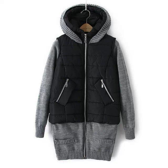 Зимняя куртка для женщин, вязанные рукава, капюшон, парки, ветровка, верхняя одежда, пальто, женская мода