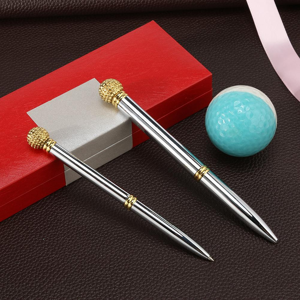 2pcs Metal Golf Scoring Pens Rotary Switch Calculate Points Gold Sliver Note Gift Pen Golf Enthusiast Accessories