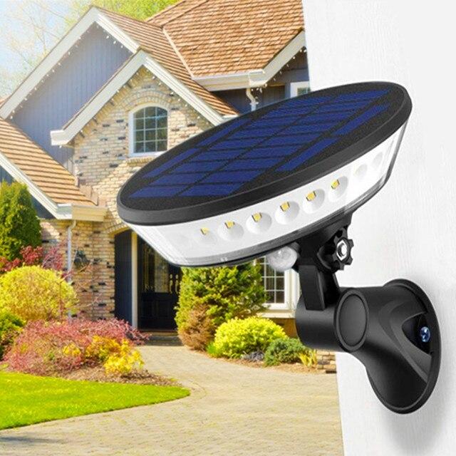 UFO Luz LED Solar de 360 ° para exteriores, iluminación ajustable de 80 °, 3 modos, móvil sin cables, Sensor de luz, lámpara de pared de seguridad impermeable