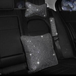 Image 4 - Capa para volante de carro, capa com brilho de cristal, strass, couro pu de alta qualidade para automóveis de 38cm e 15 polegadas volante volante