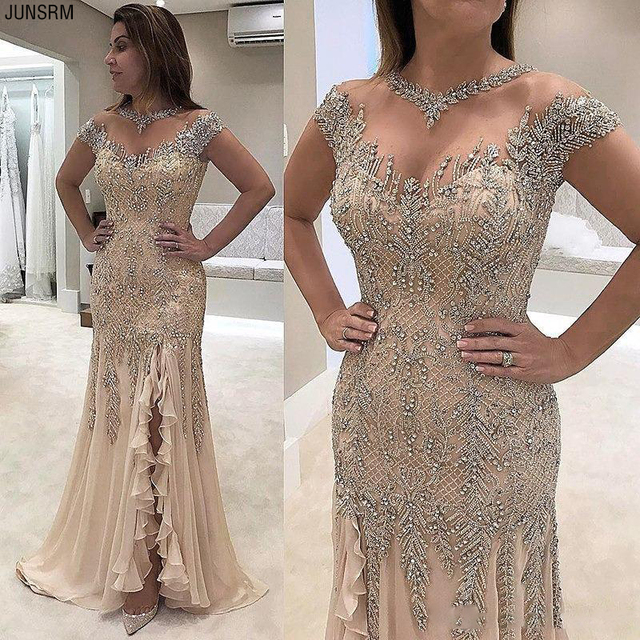 2021 Luxury Sheer Neck Mermaid Prom Dresses Beadings Sequined High Split Gowns Formal Mother of the Bride Dress Evening Wear 1