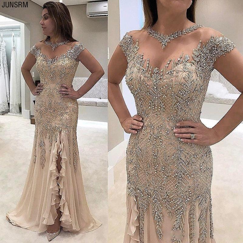 2019 Luxury Sheer Neck Mermaid Prom Dresses Beadings Sequined High Side Split Prom Gowns Elegant Formal Dresses Evening Wear