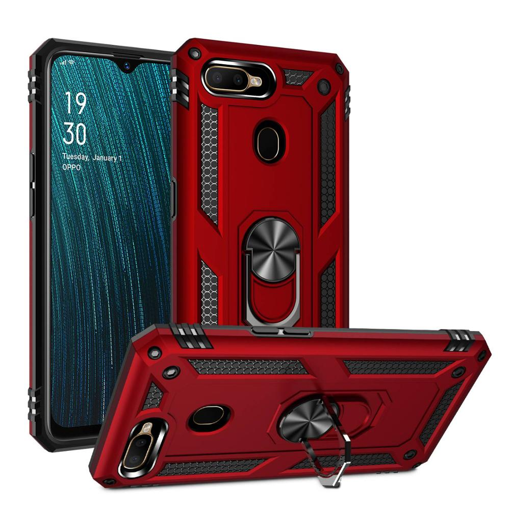 NEW Cases For OPPO R15 R17 F11 Pro A3S A5S Shockproof Hybrid Rubber Hard Plastic Armor Magnetic Bracket 360 Ring Holder Cover image