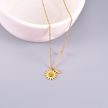 Amaiyllis 18K Gold Daisy Clavicle Necklace Pendants  Hip Hop Chrysanthemum Gold Pendant Necklace For Women Jewellry Gift недорого