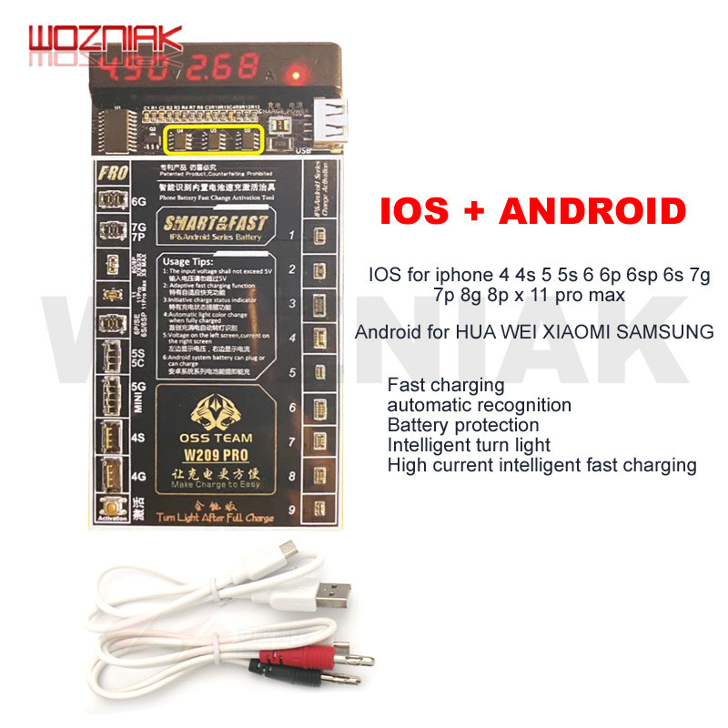 WOZNIAK For IPhone 4 - 8 8 Plus X XR XS 11PRO MAX Samsung Battery Tester/Charger Charging Activation Circuit Board Tester Digita