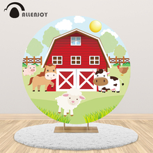 Allenjoy Rural farm house round backdrop cover pink baby birthday party animal banner photographic background photo photozone