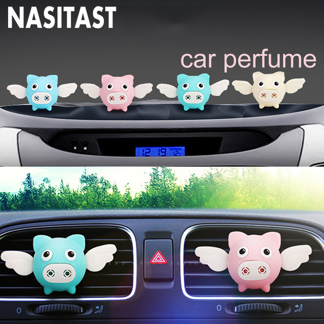 Cute Car Air Perfume Flying Pig Aroma Diffuser Air Freshener Auto Interior Scent Aromatherapy Decor Car Accessory Piggy Ornament