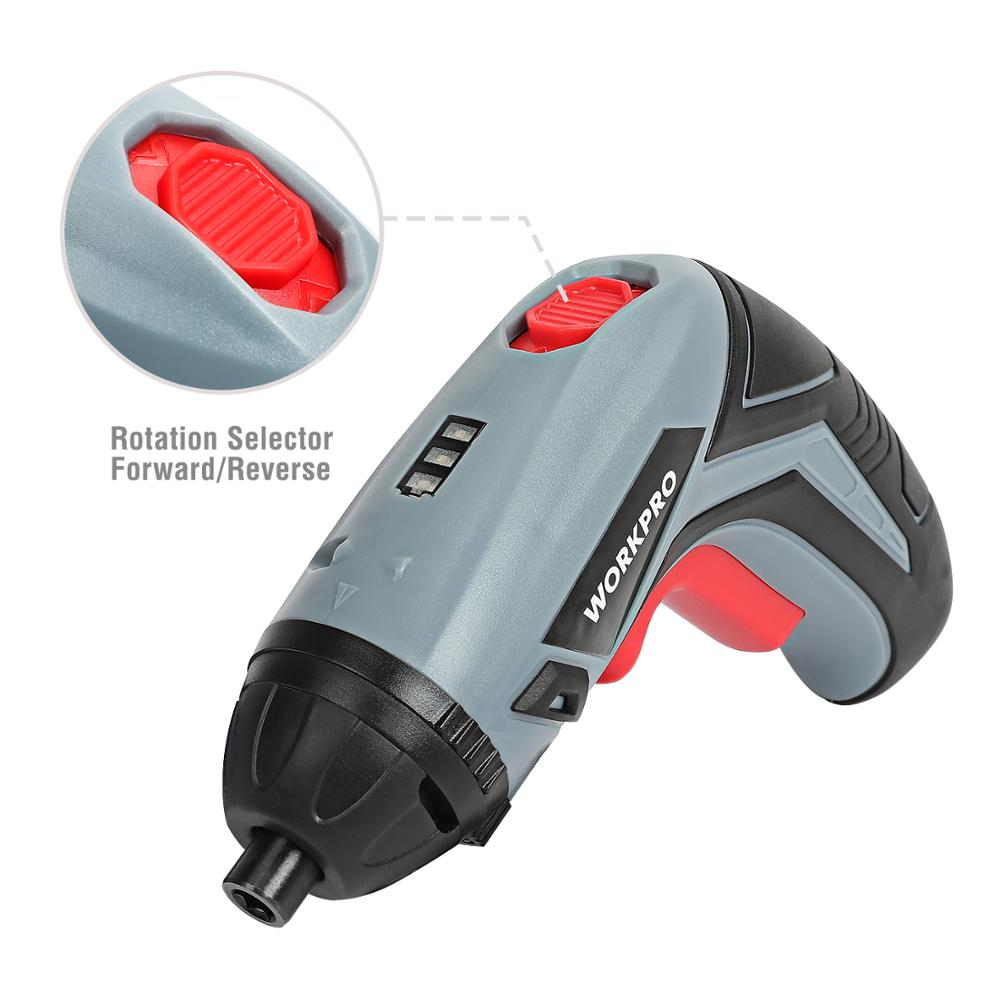USB Charging Cable and 10-Piece Bits Included Powered by 3.6V Li-ion Battery WORKPRO Cordless Rechargeable Power Screwdriver
