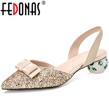 FEDONAS Women Rhinestone Lace Up High Heeled Butterfly Knot Cow Leather Sequins Classic Design Sandals Summer Shoes Woman