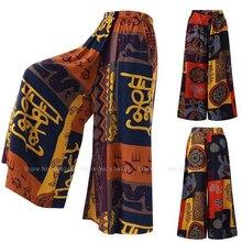 Bohemian Print Wide Leg Pants Women Thailand India Pakistan Lady Kurti Fashion H