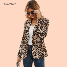 Women Fall Jackets OL Leopard Print Coat Blazer Fashion Spring Autumn Tops Windbreaker Outerwear 2019 Clothes Blouson Femme 2019(China)