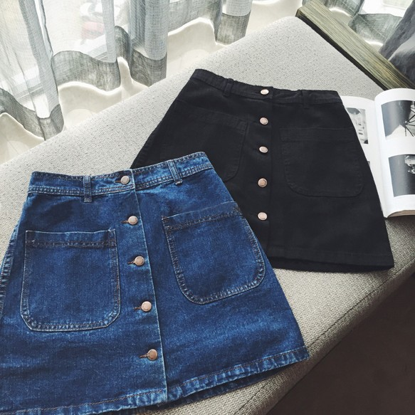2020 Summer New Style Denim Skirt Women's Dress Korean-style Slimming Versatile Skirt Students Buckle High-waisted A- Line Skirt