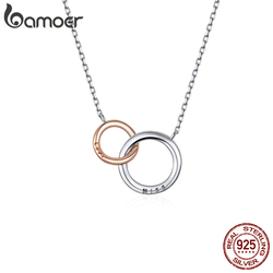 bamoer Double Circle Chain Necklace for Women Rose Gold Color 925 Sterling Silver Miss & Love Wedding Fine Jewelry BSN159