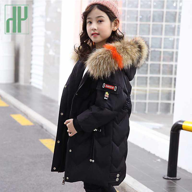 Kids parka Girls winter jacket Children Clothing Warm Hooded Thick Cotton-Padded Long Outerwear Boy Coat baby snowsuit Jackets
