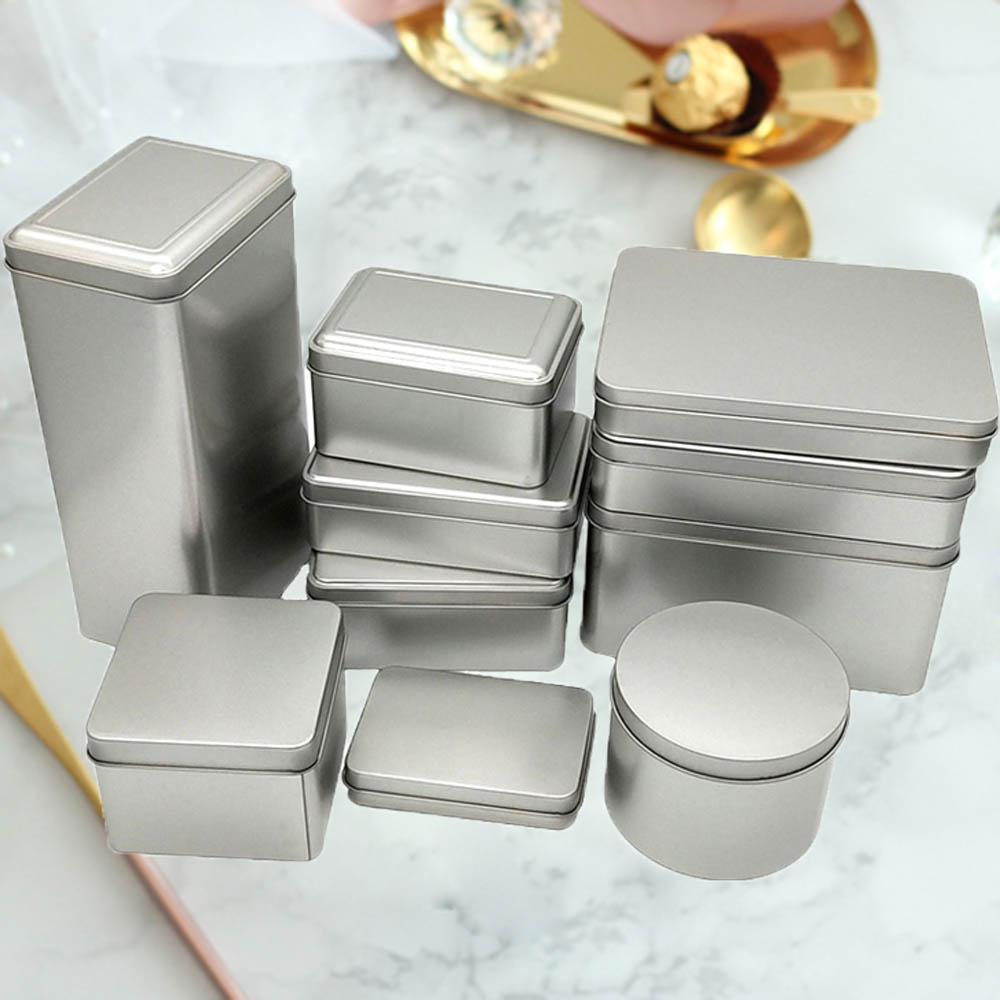 Square Tin Storage Boxes Small Metal Container Silver Jewelry Keys Coins Metal Box Tin Wedding Candy Storage Tin Can Empty Box