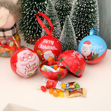 6Pcs Christmas Candy Boxes Ball Shaped Small Gift Boxes Hanging Decors Christmas Tree Ornaments Party Favors Random Patterns(China)