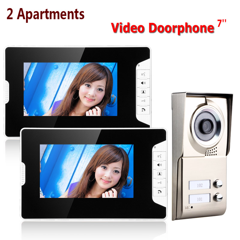 7inch LCD 2 Apartments Video Door Phone Intercom System IR-CUT HD 1000TVL Camera Doorbell Camera With 2 Button 2 Monitor