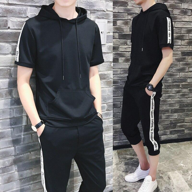 2018 Summer Wear New Style Capri Pants + Short Sleeve T-shirt Suit Men's Large Size Loose Casual Two-Piece Set Sports Set