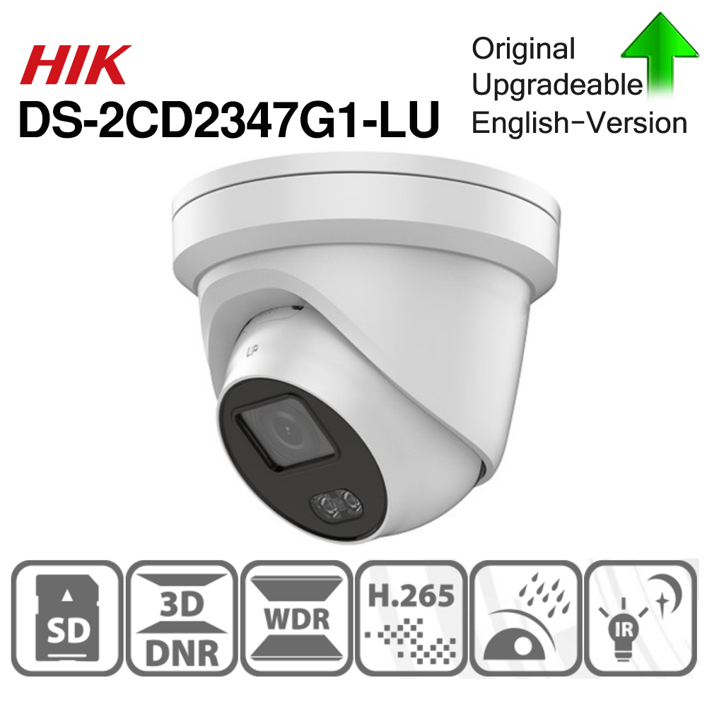 Hikvision ColorVu Original IP Camera DS-2CD2347G1-LU 4MP Network Bullet POE IP Camera H.265 CCTV Camera SD Card Slot