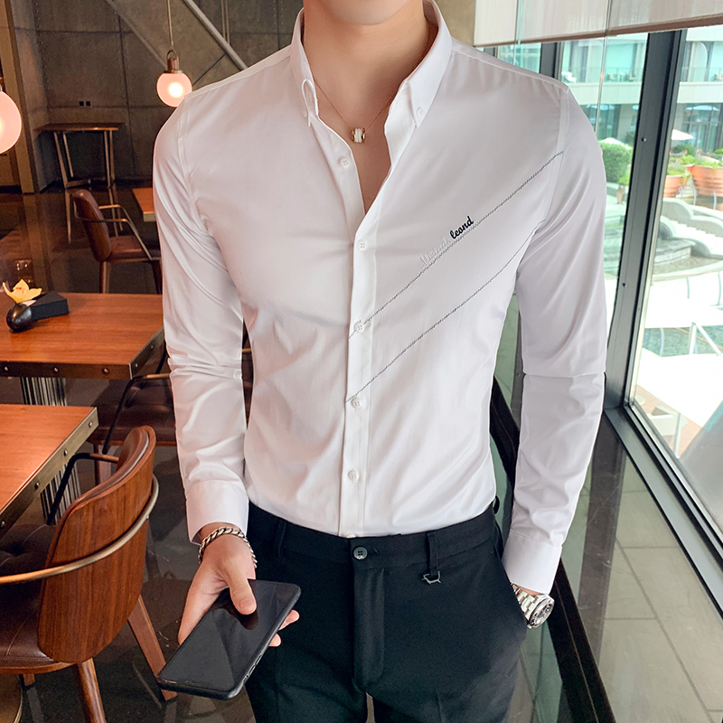 British Style Shirts Men High Quality 2019 Formal Wear Men Dress Shirt Long Sleeve Embroidery Slim Fit Casual Prom Tuxedo Shirts