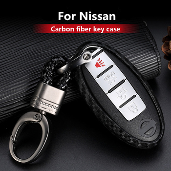 Carbon Fiber Silica gel Car Key Case For Nissan Rogue XTrail T32 T31 Qashqai J11 J10 Kicks Tiida Pathfinder Murano Juke Infiniti image