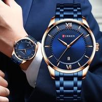 Curren zegarek kwarcowy męski Top marka luksusowa niebieska stal wodoodporne męskie zegarki data mężczyzna zegarek analogowy zegarek na rękę mężczyzna zegar w Zegarki kwarcowe od Zegarki na