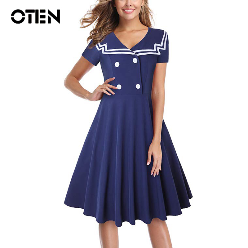 OTEN Women's Sailor Collar <font><b>Vintage</b></font> <font><b>1940s</b></font> <font><b>dresses</b></font> Summer Short sleeve Buttons Pin up Tea Party preppy style Knee Length <font><b>Dress</b></font> image