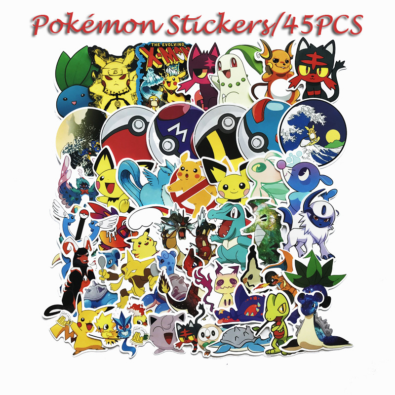45pcs-font-b-pokemon-b-font-psyduck-cartoon-stickers-waterproof-vinyl-decal-for-laptop-helmet-bicycle-luggage-guitar-car-children-stickers-toy